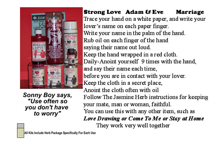 Strong Love with Adam and Eve Marriage Candles, Oils, Spray.