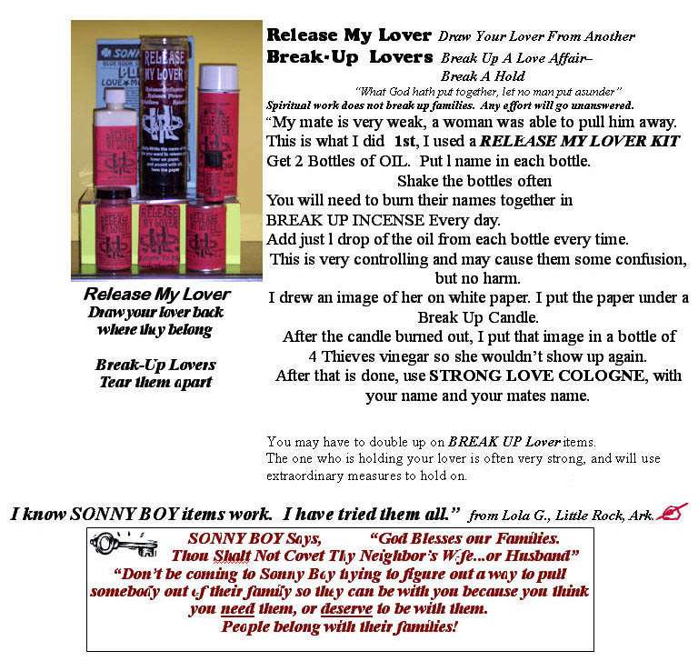 Release My Lover Kit and Break Up Lovers candles, spray, oils.